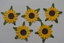 1 LAYER YELLOW SUNFLOWERS (2cm) Mulberry Paper Flowers miniature card wedding